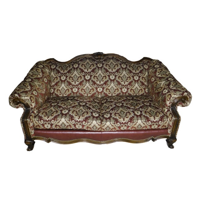 Sherrill Leather & Fabric Burgundy & Gold Sofa For Sale