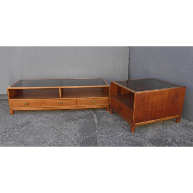 Vintage Danish Mid Century Modern Walnut Coffee & End Table - Set of 2 For Sale - Image 4 of 13