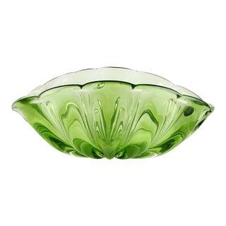 Barbini Vintage Murano Green Sommerso Italian Art Glass Mid Century Fruit Bowl Centerpiece For Sale