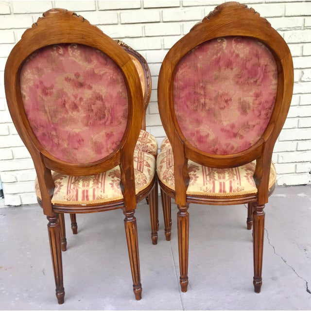 1960s Set of 4 Vintage Beige & Burgundy French Dining Chairs For Sale - Image 5 of 13