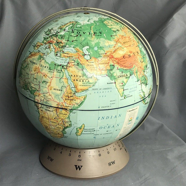 Vintage Rand McNally & Co 1967 RandMark III Globe on stand. Condition: very good vintage condition with normal use from...