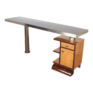 Minimalist Narrow Modular Reversible Desk in Two Tone Wood and Nickel For Sale