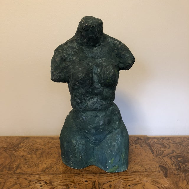 Heavily textured pottery female bust sculpture with rich verdigris finish. Signed Pat Olson. Minor wear, cracking, chips...