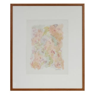 1963 Colorful Minimalist Abstract Pink, Green, Blue Watercolor Painting For Sale