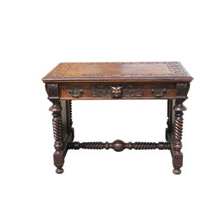 Antique Carved Oak Library Table For Sale