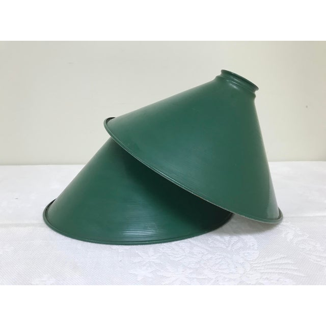 Mid-Century Industrial Dark Green Enamel Pendant Shades - Set of 2 - a Pair For Sale - Image 9 of 9