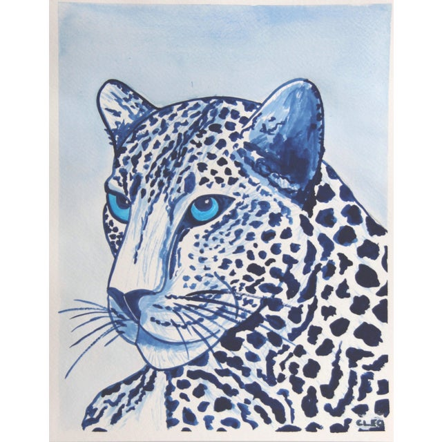 A wild white leopard or cheetah portrait with sky blue eyes in shades of indigo blue, inspired by Chinese paintings....