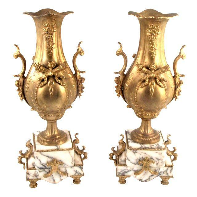 French Gold Gilt Urn Garniture Vases - A Pair - Image 2 of 9