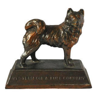 1930s Vintage Bronze Husky Dog Paper Weight For Sale