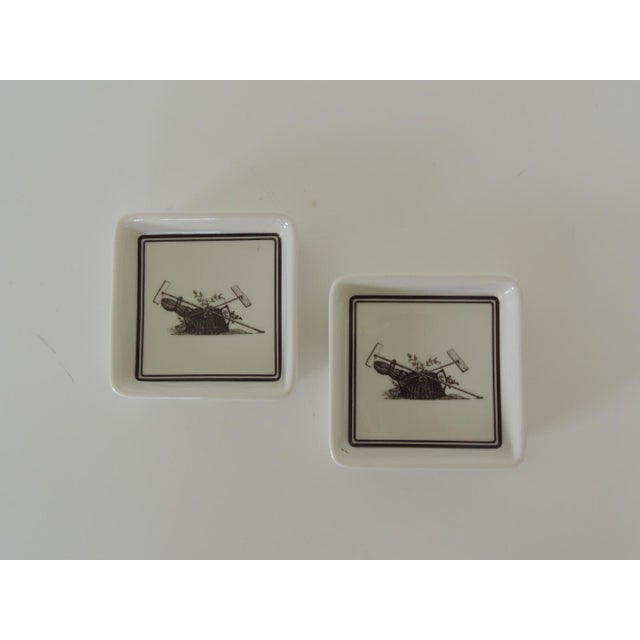 1980s Pair of Vintage Porcelain Square Black & White Coasters With Garden Scene For Sale - Image 5 of 5