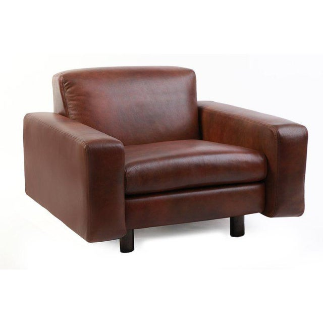 Mid-Century Modern Metropolitan Leather and Bronze Lounge Chairs - Set of 4 For Sale - Image 3 of 7