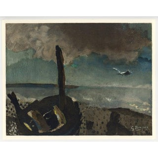 1968 Maeght Georges Braque Marine a La Mouettes Lithograph For Sale