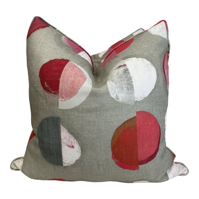 """Jane Churchill """"Olinda"""" in Red 22"""" Pillows-A Pair For Sale"""