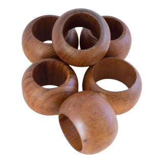 Walnut Napkin Rings - Set of 6 For Sale