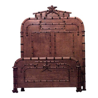 American Victorian Faux Bamboo Maple Queen-Size Bed For Sale
