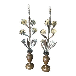 Tole and Bronze Sculptural Floral Arrangements - a Pair