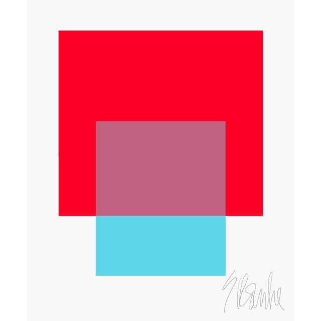 "The Interaction of Red and Turquoise Fine Art Print 20"" X 24"" by Liz Roache For Sale"