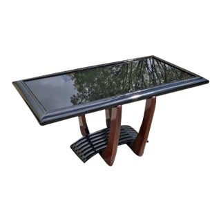 French Art Deco Large Coffee or Cocktail Table, Black Glass Top Circa 1940s