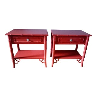 Thomasville Allegro Faux Bamboo High Gloss Red Nightstands - a Pair