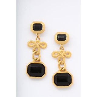 Black Stone and Gilt Dangle Earrings Preview