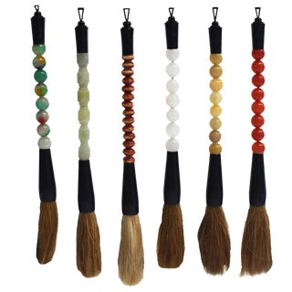 Chinese Calligraphy Brush With Jade and Quartz - Set of 6 For Sale