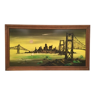 """Mid-Century Modern Abstract """"San Francisco Bay"""" Cityscape Oil Painting For Sale"""
