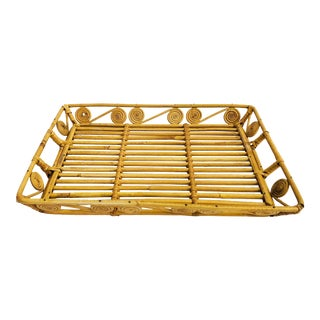 Vintage Rectangular Wicker Tray For Sale