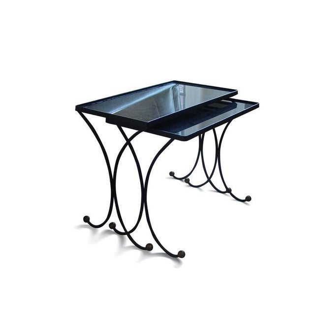 Brass Jean Royère Style Nesting Tables- Set of 2 For Sale - Image 7 of 8