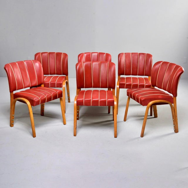 Italian Mid Century Bentwood Dining Chairs With Original Red Vinyl Upholstery - Set of 6 For Sale - Image 13 of 13