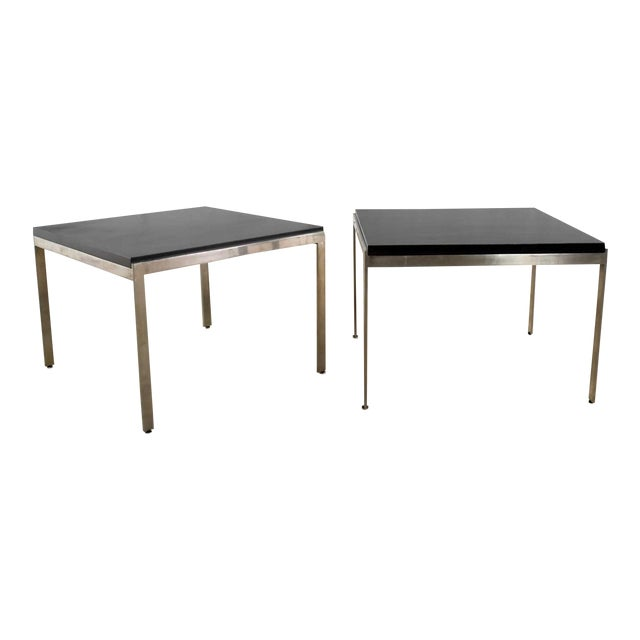 Pair Vintage Large Modern Square End Tables in Stainless Steel With Black Laminate Tops For Sale