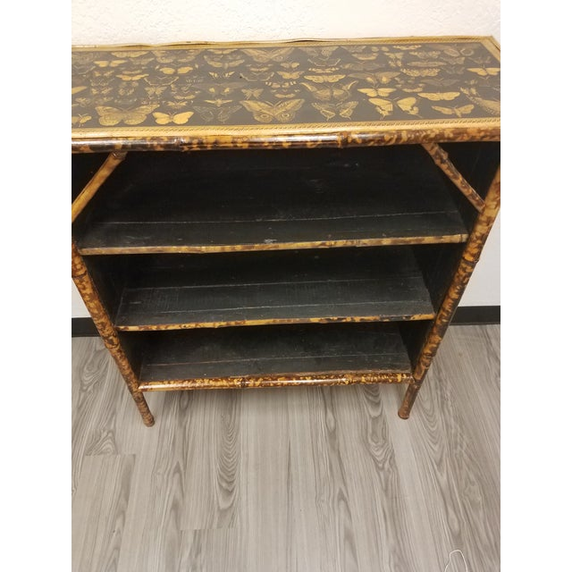 Antique English Bamboo Decoupaged Bookcase With Butterflies For Sale - Image 4 of 13