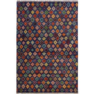 1990s Southwestern Balouchi Aletha Blue/Orange Wool Rug - 4'9 X 6'7 For Sale