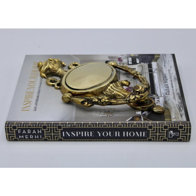 Brass Art Nouveau French Brass Door Knocker For Sale - Image 8 of 11