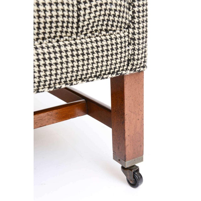 Beefy Edwardian Style Button Tufted Club Chairs in Houndstooth - Image 7 of 11