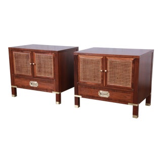 Baker Furniture Milling Road Campaign Style Nightstands - a Pair For Sale