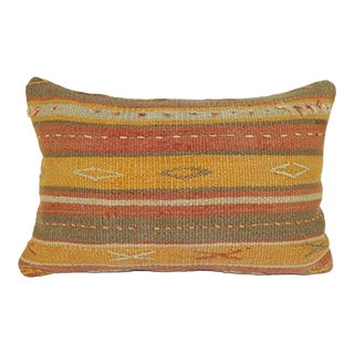 Vintage Turkish Kilim Pillow Cover, Home Design Cushion, Handmade Flat-Weave Kilim Rug Cushion, Lumbar Cushion Cover 16'' X 24'' (40 X 60 Cm) For Sale