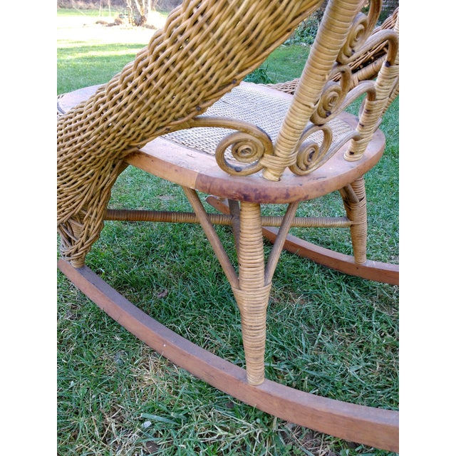Victorian Wicker Rocking Chair Nursing Rocker in Original Condition Excellent Light Color 1800s Japanese Fanback - Image 6 of 11