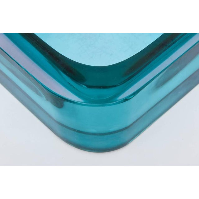 Italian Flat Cut Polished Cenedese Sommerso Square Glass Bowl - Image 6 of 9