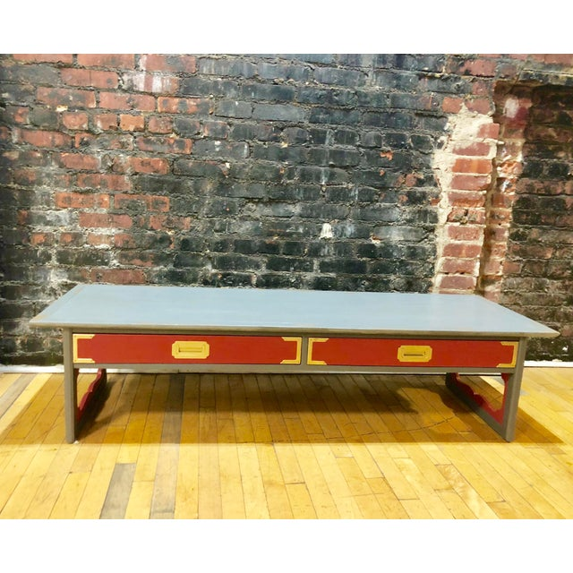 1960s Contemporary Gray & Coral Coffee Table For Sale - Image 10 of 10