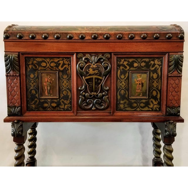 Spanish Colonial Revival Painted Leather and Wood Drop-Front Desk on Stand and Chair For Sale - Image 4 of 13