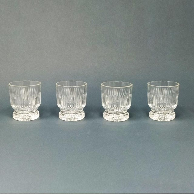 Italian 1950 Italian Mid Century Vintage Crystal Decanter with 4 Glasses For Sale - Image 3 of 9