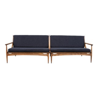Solid Walnut Danish Minimalist Spindle Back Sectional Sofa