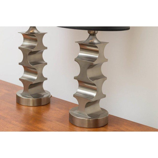 Signed Italian pewter lamps with a James Prestini influence.