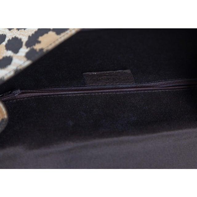Yves Saint Laurent Leopard Animal Print Canvas Wooden Top Handle Bag, 1990s For Sale - Image 9 of 10