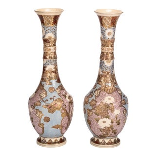 Pair of Blue Japanese Satsuma Enameled Tall Neck Vases For Sale