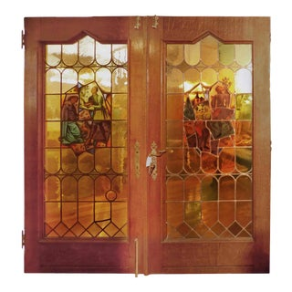 20th Century Tiger Oak Framed Entry Doors Incorporating Antique Stained Glass For Sale