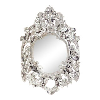 Silver Handcut Glass Mirror For Sale