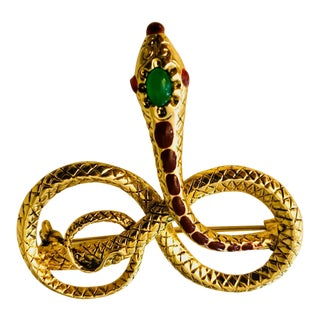 Victorian Style Mughal Serpent Pin For Sale