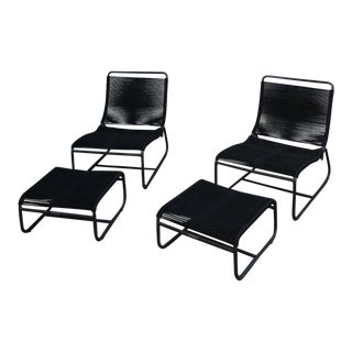 Design Within Reach Walter Lamb Sleigh Lounge Chairs & Ottomans - Set of 4