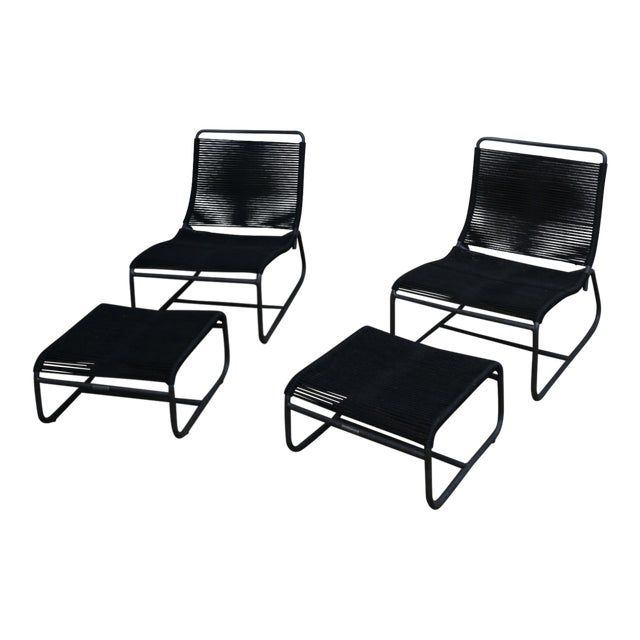 Design Within Reach Walter Lamb Sleigh Lounge Chairs & Ottomans - Set of 4 For Sale